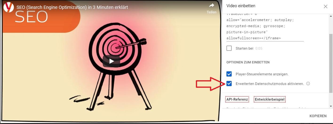 Wenn Sie ein Video von YouTube auf Ihre eigene Seite einbetten möchten, sollten Sie das Häkchen beim erweiterten Datenschutzmodus setzen.
