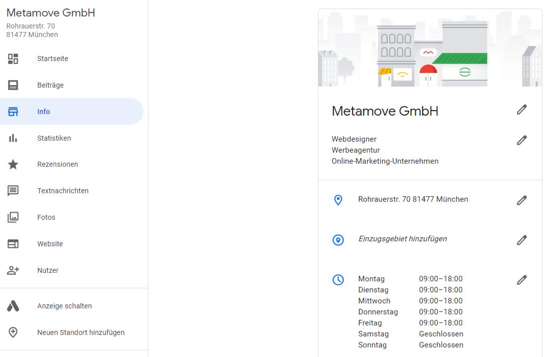 Das Dashboard bietet eine Rundumüberblick über alle Funktionen und Features von Google My Business.