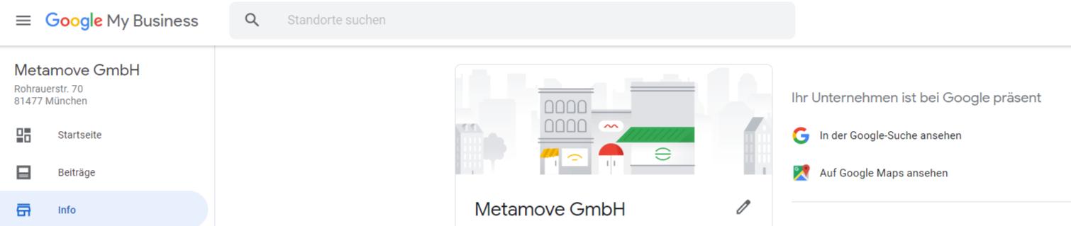 Die Kerndaten des Unternehmens werden im Infofeld des Google My Business Kontos eingetragen.