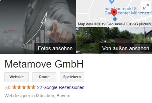 Der Google My Business Firmeneintrag der Metamove GmbH